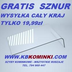 Szyba kominkowa ROBAX gięta pod katem 90 stopni łagodnym łukiem. Najlepsza cena szyby kominkowej. www.kbkominki.com
