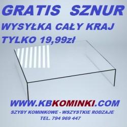 Szyba kominkowa ROBAX gięta pod kątem 90 stopni dwustronnie. Najlepsza cena szyby kominkowej. www.kbkominki.com