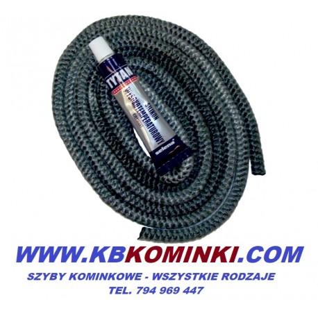 Zestaw naprawczy sznur fi 8mm plus klej - do kominka. www.kbkominki.com