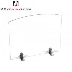 Parawan szklany łuk bezbarwny, bez uchwytu, stopki ze stali oxydowanej, przed kominek