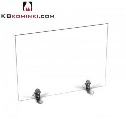 Parawan szklany prostokąt bezbarwny, bez uchwytu, stopki ze stali oxydowanej, przed kominek