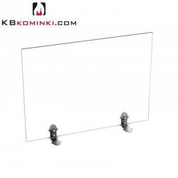 Parawan szklany prostokąt, matowy / ice look, bez uchwytu, stopki ze stali oxydowanej, przed kominek