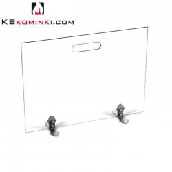 Parawan szklany prostokąt bezbarwny, z uchwytem, stopki ze stali oxydowanej, przed kominek