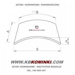 Szyba kominkowa panoramiczna gięta do wkładu kominkowego UNIFLAM LAUDEL 800 PANORAMA. Najniższa cena szyby. www.kbkominki.com