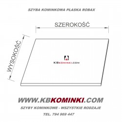 Szyba kominkowa do kominka ROBAX 4mm. Szkło kominkowe żaroodporne. Najlepsza cena szkła kominkowego. www.kbkominki.com
