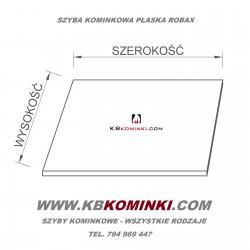 Szyba kominkowa do kominka 380x590mm ROBAX 4mm. Szkło kominkowe żaroodporne. Najlepsza cena szkła kominkowego. www.kbkominki.com