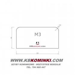 Podstawa szklana M3 bezbarwna z fazą, pod piecyk, kozę, przed kominek