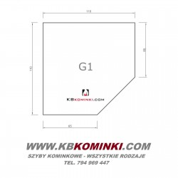 Podstawa szklana G1 bezbarwna z fazą, pod piecyk, kozę, przed kominek