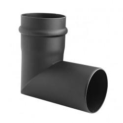 Kolano stałe czarne fi 80mm 90 stopni 2 segmentowe na pelet / pellet